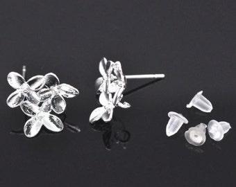 5 Pairs SP Flower Earring Post W/Stoppers&Loop 15x14mm