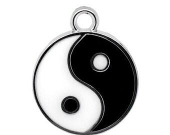 20 Silver Tone Enamel Yin Yang Charm Pendants 25x20mm