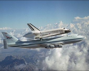 24x36 Poster . Space Shuttle Discovery On Boeing 747 Shuttle Carrier Aircraft