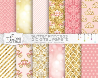 Glitter Fairy Princess - 12 pink and gold digital papers - INSTANT DOWNLOAD
