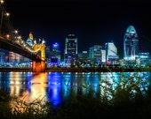 Cincinnati After Dark, Cincinnati Night Photography, urban landscape Art Print, Downtown Cincinnati, Ohio River Print, city photography,