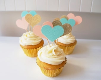 Turquoise, Peach, and Gold Glitter Heart Cupcake Toppers