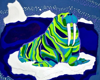 Walrus on Ice Painting, Walrus Art, Bold, Colorful Walrus Art, Walrus Gouache Painting