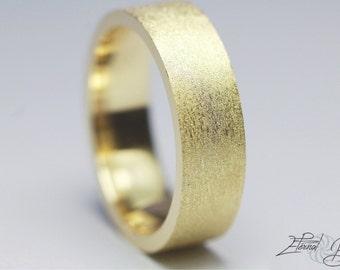 14k Solid Yellow Gold Wedding Band, Matte Wedding Band, Brushed Wedding Band, 5mm, Matte Finish Flat Band