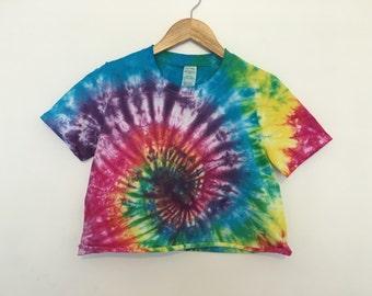 Rainbow Multicoloured Swirl Tie Dye Crop Tops