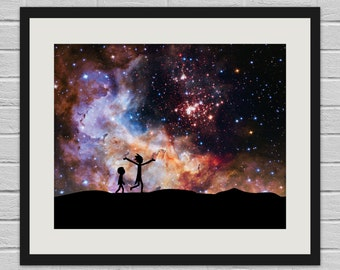 Rick and Morty in Space - Hubble/Rick and Morty Wall Art Poster and Canvas Print