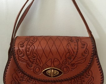 1960s/1970s Leather Hand Tooled/Purse/Handbag/Hippie/Boho