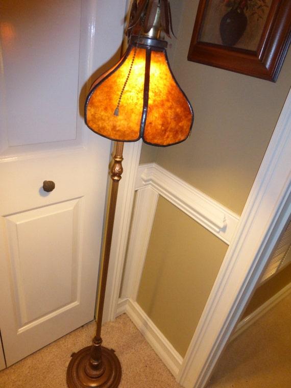 Vintage Victorian Art Deco Bridge Floor Lamp Brass Cast Iron