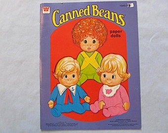Canned Beans Paper Dolls, Uncut, 1977, Three Very Cute Toddlers and Clothes