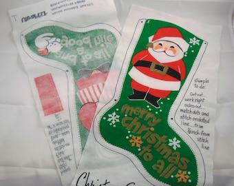 Vintage Mr. and Mrs. Santa Claus Christmas Uncut Felt Panel, DIY Felt Christmas Stocking, Vintage Santa Craft