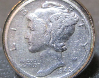 Vintage silver handcrafted Mercury dime coin adjustable silver plated ring