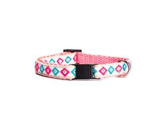 Aztec cat collar. Pink and Gold Cat Collar. Geometric Cat Collar. Breakaway Buckle Cat Collar. Colorful cat collar.