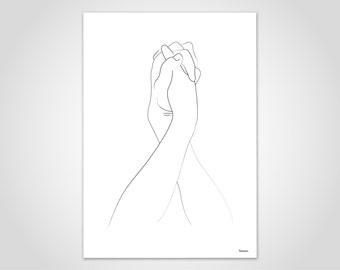 Sketch hands 1/poster, hand, Human, portrait, pictures, art prints, paper, drawing, charcoal, illustration, minimalist, Scandinavian