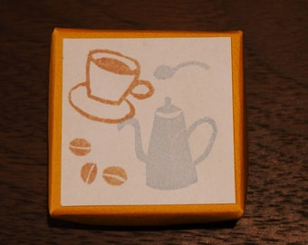 Coffee Set Rubber Stamps