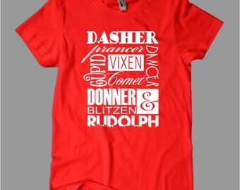 Reindeer Names, Christmas T Shirt, Christmas Shirts, Dasher, Prancer, Vixen, Dancer, Cupid, Comet, Donner, Blitzen, Rudolph, Xmas T-Shirt