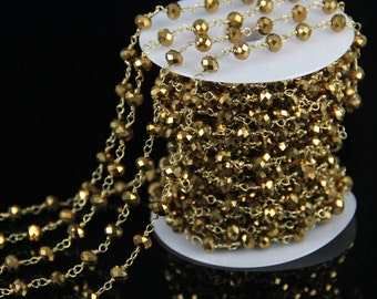 10 feet/lot Gold Titanium Glass Faceted Rondelle Beads Chain,Rosary Plated Gold Wire Wrapped Gems Fashion Making Necklace Chains Wholesale