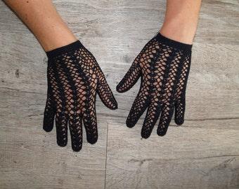 Navy Blue Lace Gloves