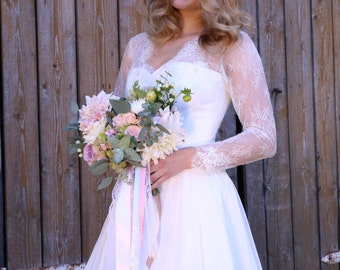Boho Vintage Inspired Chiffon Wedding Dress with Chantilly Lace Corset, Long Lace Sleeves ,V Neck, A-Line