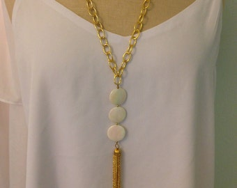 Chunky Pearl Tassel Necklace