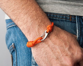 550 paracord bracelet Orange man-woman unisex-Pulsemade Slim collection-Handmade Paracord Bracelet Orange Mens/Womens
