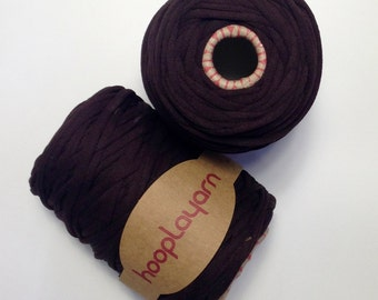 Hoopla jersey recycled chocolate dark brown t-shirt yarn