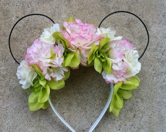 Pink Carnation Floral Mickey Ears