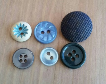 Vintage Button Lot, Shades of Blue