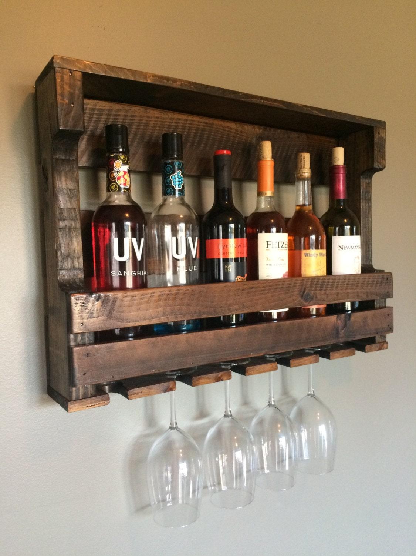wine rack pallet wood reclaimed 6 bottle by lovemade14 on etsy. Black Bedroom Furniture Sets. Home Design Ideas