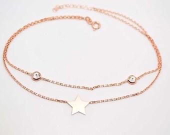 Star, silver anklet