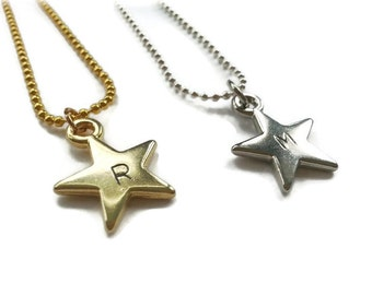 Handmade customized necklace with charm intiaal star