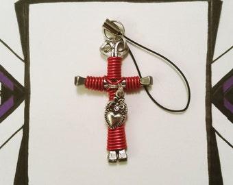 Cross Keychain w/ Heart Charm