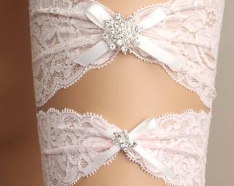 wedding garter set, bridal garter set, lace garter set, pink garter set, crystal garter, bridal accessories, ribbon garter set