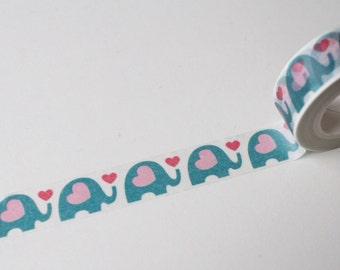 Blue Elephant & Pink Hearts, Washi Tape