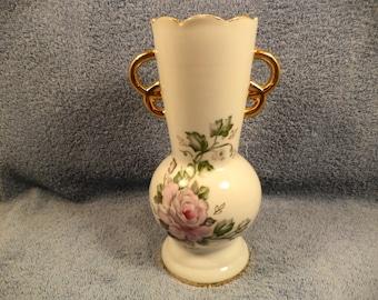 Floral Rose Decorated Handled Vase