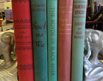 Instant Library Vintage Red and Green Book Collection