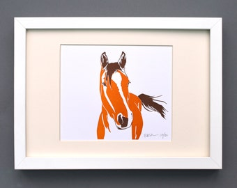 Horse print - Pony Print - gift for horse lover - Farm Print - Room Decor - Animal Print Nursery - Letterpress prints - small prints