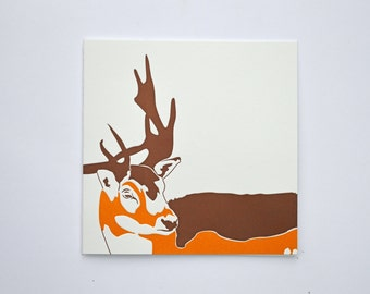 Christmas cards - Reindeer card - xmas Cards - Holiday cards - Winter collection  - Letterpress Christmas cards - Stag Head - Rudolf - Blank
