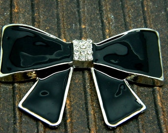 Large Black Luxury Bow with Silver Trim Alloy with Crystal Rhinestones 65mm x 40mm
