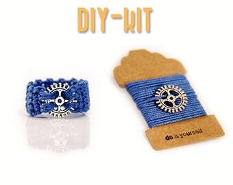 DIY Kit - crochet ring - free pattern - steampunk ring - crochet thread - DIY Jewelry - gear wheel - MudenoMade