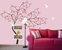 Vinyl Wall Decal Volume shelf shelving Tree leaf with flying birds bird home house Art wall Decals Wall Sticker stickers baby room kid H516