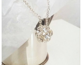 "Necklace ball faceted Swarovski Crystal ""dancing queen"""