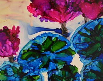 Water Lilies Original Abstract Alcohol Ink Painting On Yupo Paper