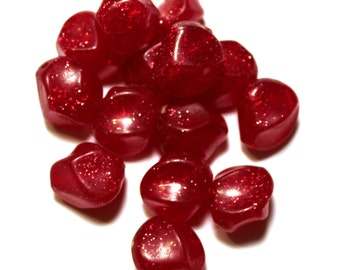 12 Vintage Red Glitter Beads, Vintage Plastic Beads, Plastic Red Beads, Plastic Vintage Beads, Red Vintage Beads, Vintage Glitter Beads