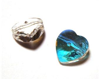 2 Swarovski Heart Beads, Swarovski Crystal Hearts, Swarovski Hearts, Crystal Heart, Swarovski Heart, Swarovski Crystals, Crystal Heart Beads