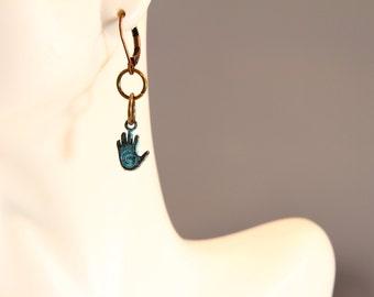Greek Bead collection Hamsa dangle earring