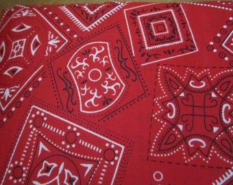Red Bandana Fabric Red Black and White Great Western Look Cowboys Cowgirls ce Weight Cotton