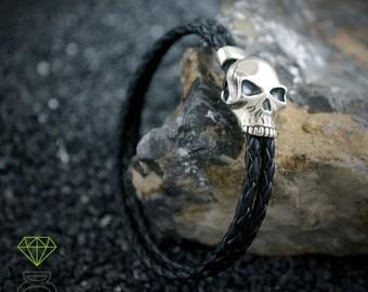 Skull Leather Bracelet,Sterling Silver Bracelet