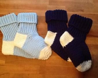 FREE SHIP- Crocheted Slipper/Boot Socks