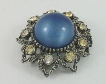 Vintage Blue Glass Brooch, Rhinestone Brooch, Antiqued Brooch, Round Brooch, Vintage Gift