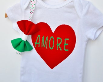 Italian inspired Amore heart bodysuit and headband